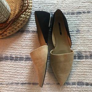 Zara basic Tan/ black suede pointed toe D'Orsay 7